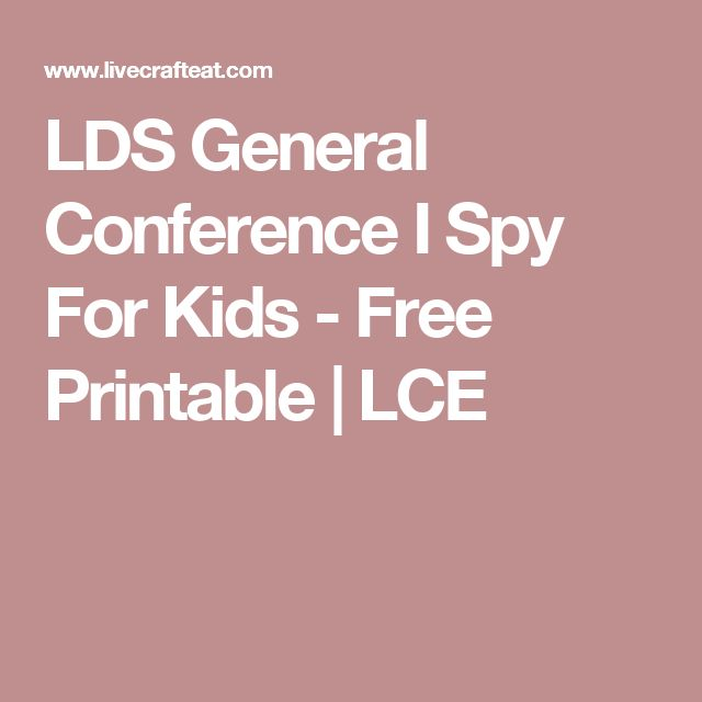 LDS General Conference I Spy For Kids - Free Printable | LCE