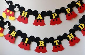 Mickey Mouse birthday banner Mickey Mouse by RaisinsPartySupplies: