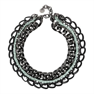 Layers of mixed chain tangle with brilliant crystals to form our Before Time Chain Choker.