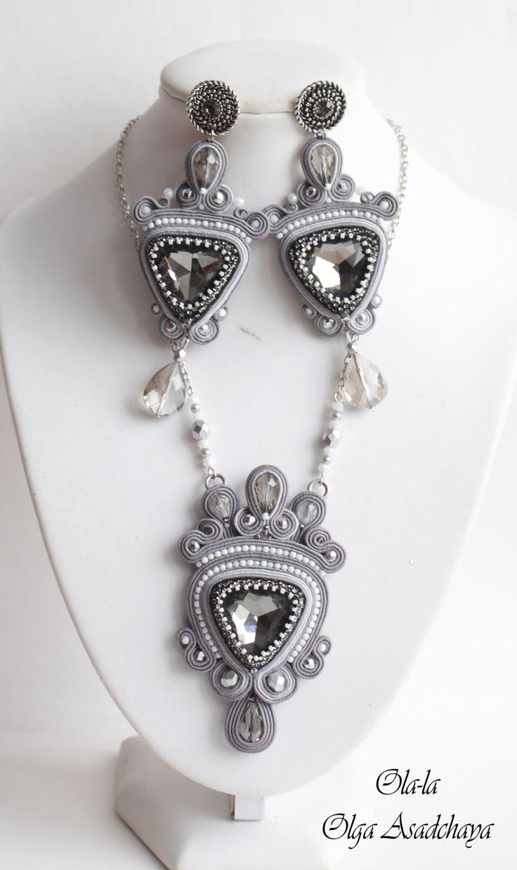 "https://vk.com/ykrashalki  pendant and earrings ""Silver Mist"" soutache, rhinestone crystal jewelry, crystal beads and crystal pendants, glass beads, Japanese beads"