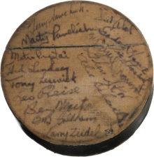 1951-52 Detroit Red Wings Team Signed Puck - Stanley Cup Season! An incredible piece of hockey history!