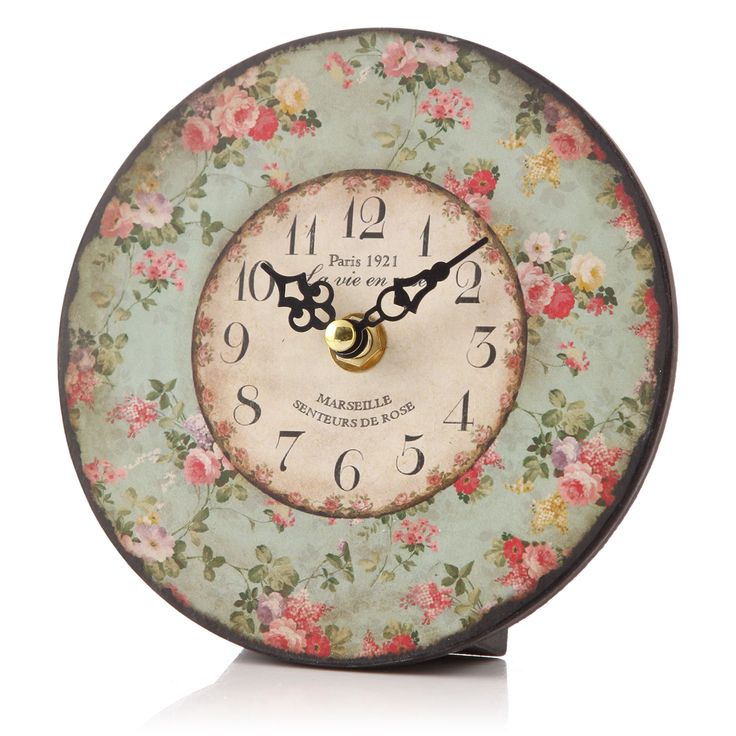 Shabby Chic Floral Table Clock