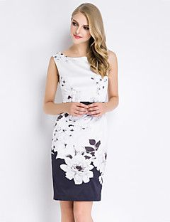 Boutique+S+Women's+Going+out+Vintage+/+Chinoiserie+Sheath+Dress+Floral+Round+Neck+Above+Knee+Sleeveless+Polyester+–+AUD+$+64.34