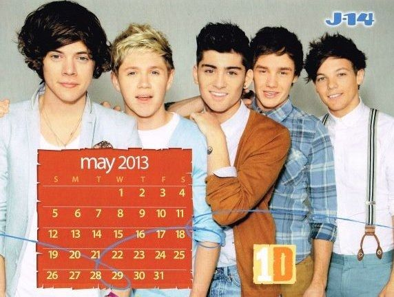 One Direction 2013 Calendar   ONE DIRECTION 1D pinup - Calendar for May 2013 ZTAMS - ZTAMS