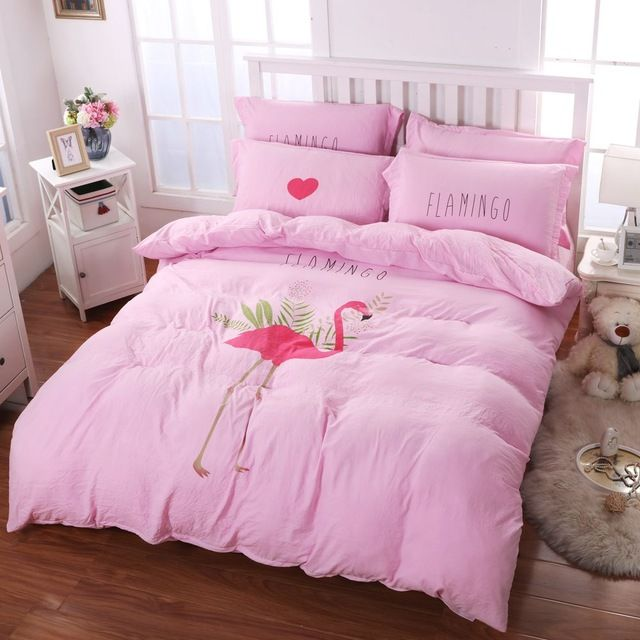 Soft polyester duvet cover set,4pcs washed fabric bedding set queen twin,Flamingo print quilt cover pink bed sheet pillowcase