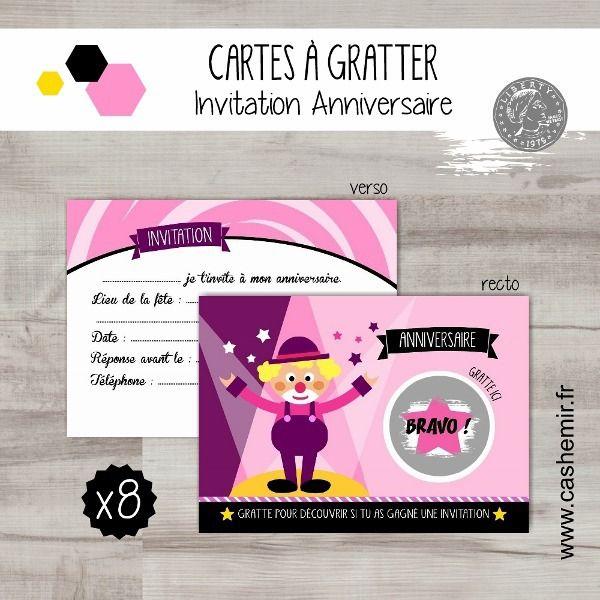 Cartes invitation anniversaire enfant fille par lot de 8, cartes à gratter clown cirque - réf.47 : Cartes par cashemir