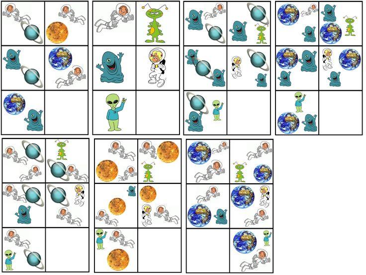 matrix de ruimte: ruimtewezen/astronaut en planeet combineren met ruimtewezen/astronaut
