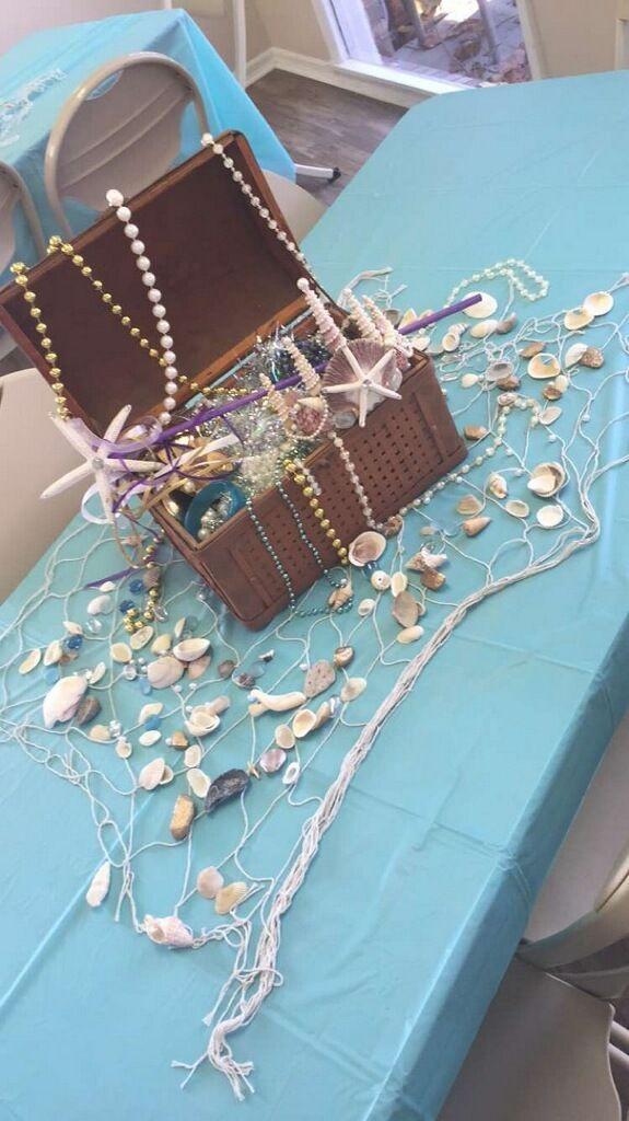 Mermaid baby shower. treasure chest centerpiece