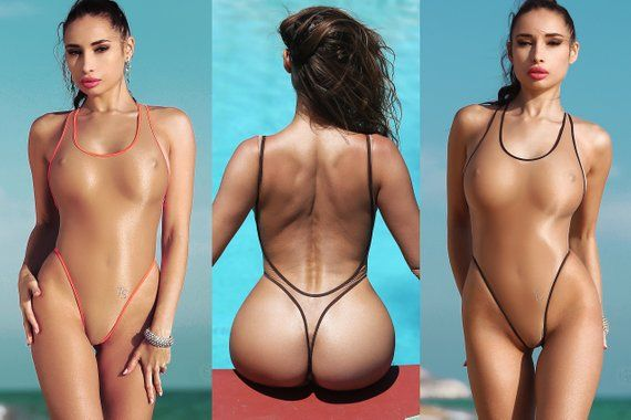 095b552ccd Erotic Transparent One Piece Swimsuit Bodysuit Bathing Suit Monokini  Swimwear Hot Thong High Cut Leg One