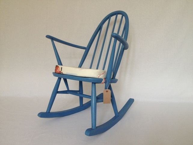 Vintage Ercol Kids Rocking Chair Hand Painted Blue With New Cushion, by BBbespoke via Folksy, £160.00