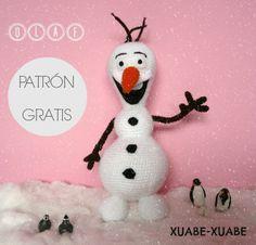 Amigurumi Olaf de Frozen - Patrón Gratis en Español aquí: http://xuabe-xuabe.blogspot.com.es/2014/05/patron-olaf-frozen.html