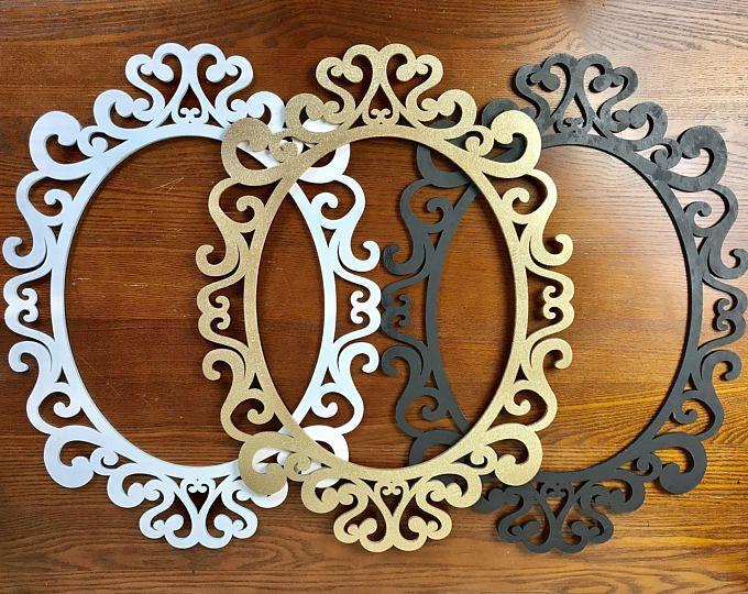 Large Oval Ornate Open Frames Nursery Decor Wall Gallery Wall Etsy Moldura De Espelho Decoracao Com Espelhos Enfeites Para Casa