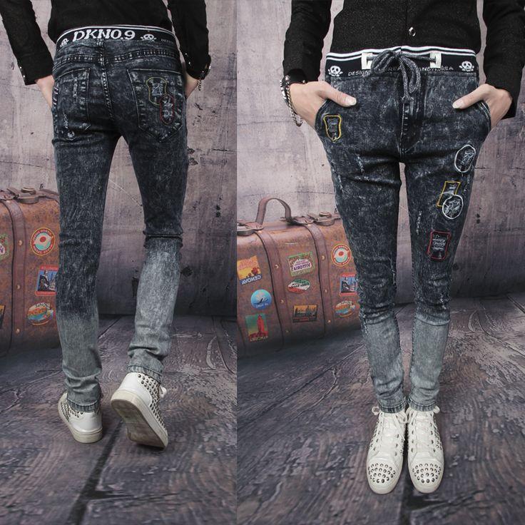 Сумасшедший продвижение! новинка новое прибытие 2015 мужской отверстие джинсы серые тонкие узкие брюки мужчины не связанные с основной панк истинные джинсы strousers