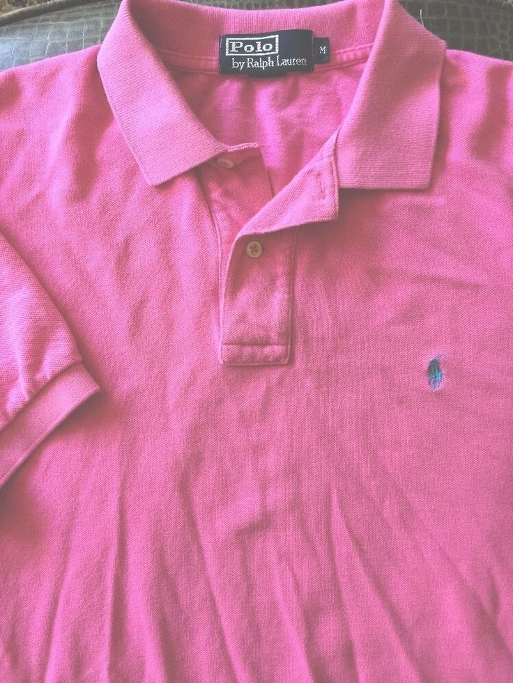 Men Polo Ralph Lauren Medium Pink Polo Shirt  S/S Mesh #RalphLauren #ButtonFront