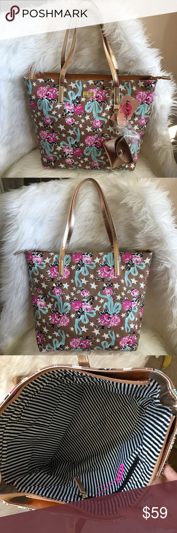 """Betsey large tote satchel bag Rose Gold pink bow Betsey Johnson large tote satchel NWT  Gorgeous shoulder handle Rose Gold trim Color is taupe beige pink turquoise  Pattern with roses bows and stars on vegan leather Pretty rose gold pouch with lips detail  Gold enamel logo Handles have 10"""" drop Inside is lined with striped fabric  17x13x5 Msrp $78.00  🌸 Posh Ambassador 🌸  #smokefree #betseyjohnson #luvbetsey Betsey Johnson Bags Totes"""