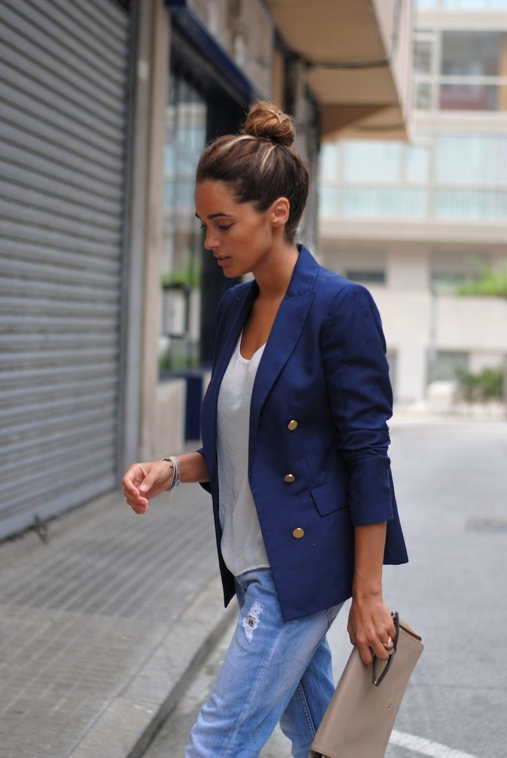 casual# blue blazer white t-shirt jeans gray purse clothing fashion closet ideas @roressclothes style apparel outfit