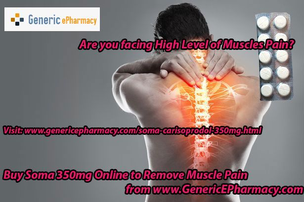 Buy #Soma 350mg online at #cheap price from #GenericEPharmacy.com – Soma pain #medication is the most common and effective pain relief medication used in the treatment of #back pain and #muscle pain without producing and side-effect and consider as the best #muscle #relaxant. Now! Place your order Soma online to have pain free life, only at $0.59 price and get $5 medicine extra on E-Check payment. Visit at   http://www.genericepharmacy.com/soma-carisoprodol-350mg.html