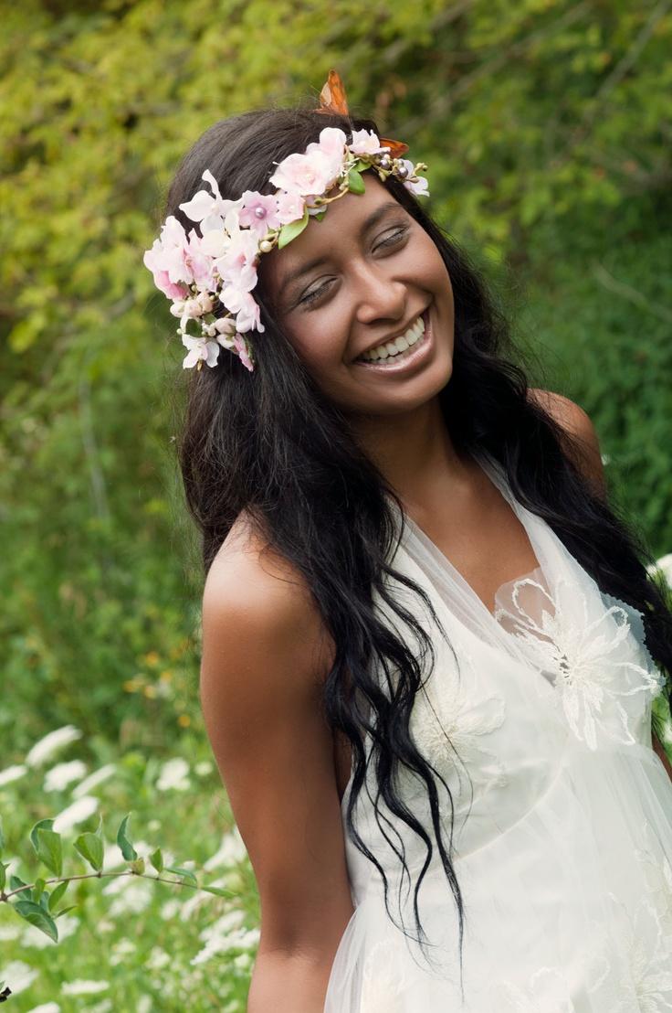 Wood nymph Fairy Floral wedding headpeice headband halo veil