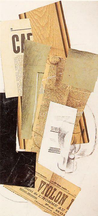 Georges Braque. En el cubismo sintetico se empiezan a utilizar las revistas, periódicos para hacer collages.