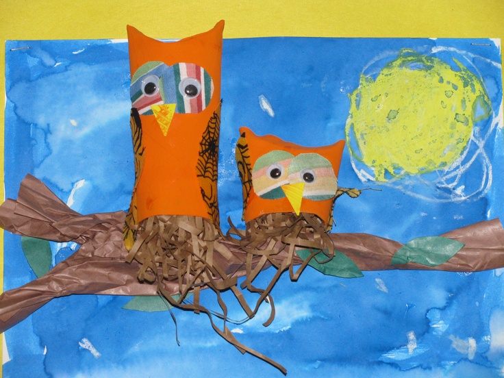 Kinder toilet paper roll owls  Art teacher: Susan Joe