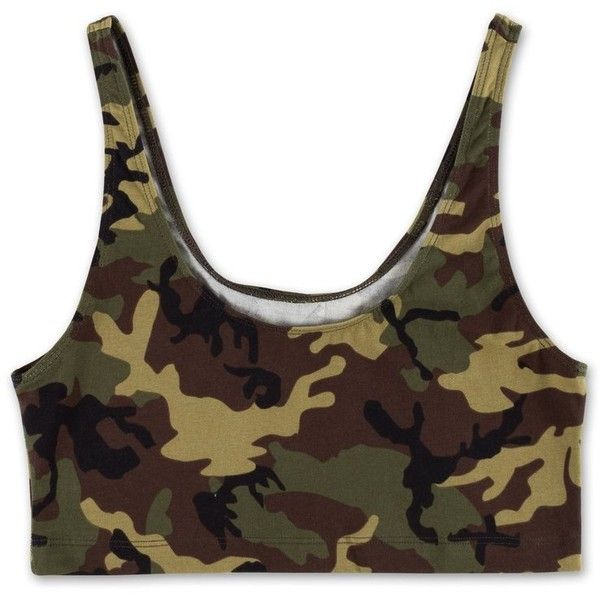 Camo Crop Top Green ($20) ❤ liked on Polyvore featuring tops, cropped tops, camouflage top, brown top, cut-out crop tops and camo crop tops