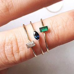 14 k oro Esmeralda anillo sólido. 14 k oro zafiro anillo sólido. 14K anillo de zafiro de Marquesa de oro sólido (medio)  * El precio es de uno un anillo puede consultar del menú desplegable.
