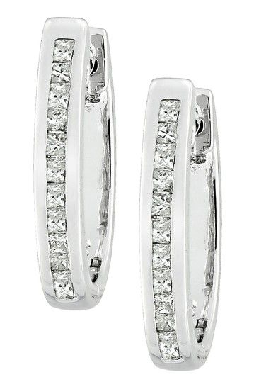 Sterling Silver Princess Cut Diamond Hoop Earrings - 0.25 ctw on HauteLook