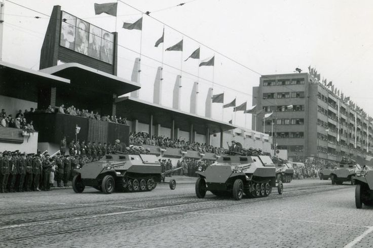 Czechoslovak People's Army OT-810 armored personnel carriers rolling through Letná Park in Prague at the 1960 Czechoslovakian Liberation Day Parade.