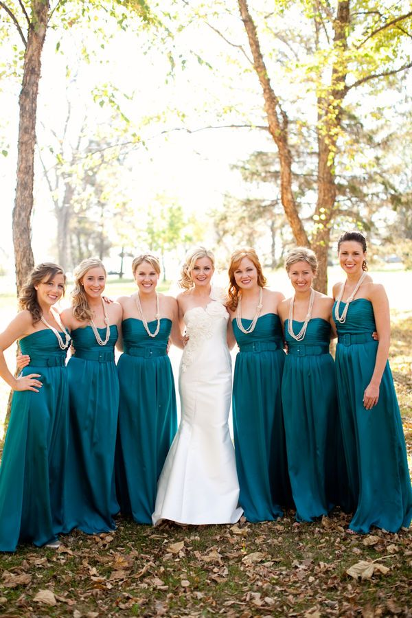 teal bridesmaids dresses... Wedding ideas for brides, grooms, parents & planners ... https://itunes.apple.com/us/app/the-gold-wedding-planner/id498112599?ls=1=8 … plus how to organise an entire wedding ♥ The Gold Wedding Planner iPhone App ♥ http://pinterest.com/groomsandbrides/boards/