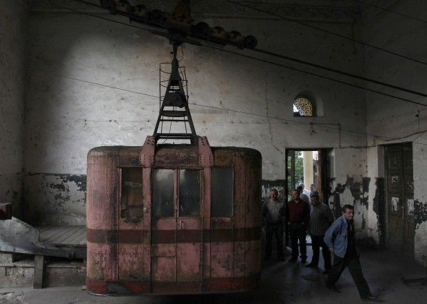 Chiatura, Georgia. The cableway built by Stalin.