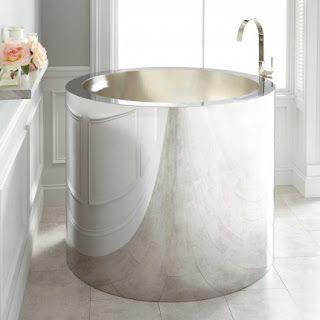 Best 25 small soaking tub ideas on pinterest for Short deep tub