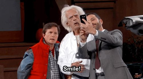 "Of course, Marty McFly and Doc Brown wanted to know all about 2015. So they took selfies… | Marty McFly And Doc Brown Crashed ""Jimmy Kimmel Live"" On Back To The Future Day"