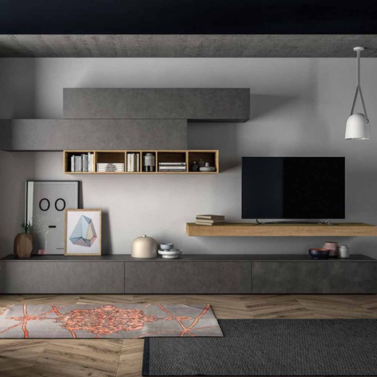Minimalist 'Anthracite' TV Unit by Dall'Agnese