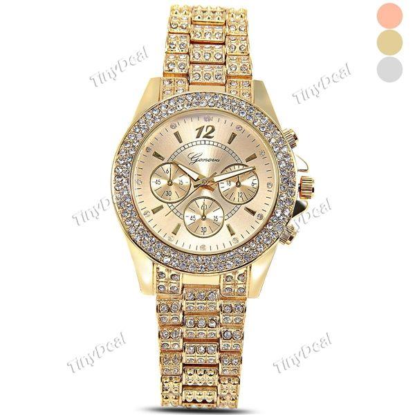 Fashion New Lady Women Fashion Gold Silver Crystal Crystal Stainless Stell Band Quartz Rhinestone Wrist Watch WWT-358804