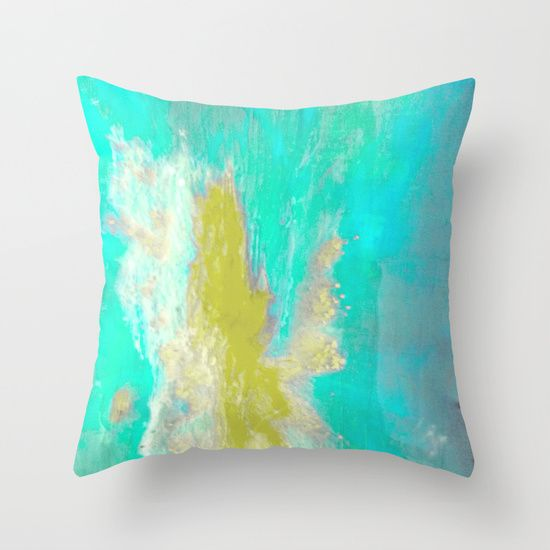 Sea-foam and Blue Throw Pillow