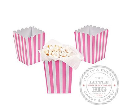 Pink Striped popcorn or treat boxes (24) | Hot Pink | Shop By Colour | Party Collection | The Little Big Company Pty Ltdparty, glass bottles, swizzle sticks, beverage dispenser, birthday, gift, rock candy