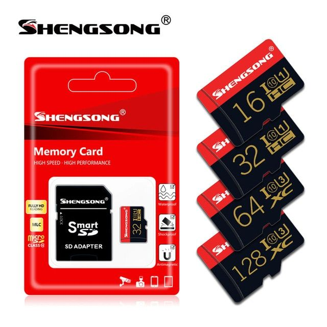 Large Capacity Class 10 TF Card Flash with TF Card Adapter High Speed SD Memory Card for Smartphone Camera 16GB SD Card Micro SD Card etc