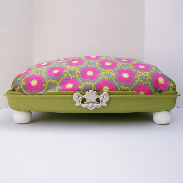 Large Suitcase Dog Bed from 80s suitcase top - Lime Green suitcase with Pink, Gray and Lime Green fabric. $75.00, via Etsy.