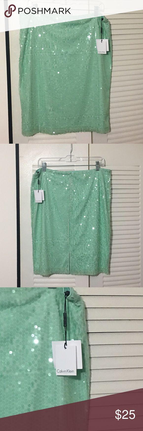 "NWT CALVIN KLEIN MINT GREEN SEQUIN SKIRT SIZE M /L CK Mint Green Sequin Skirt. Actual Measurements While Laid Flat 16.5""w At Waist. Top Of Waist Down 22.5""L Calvin Klein Skirts"
