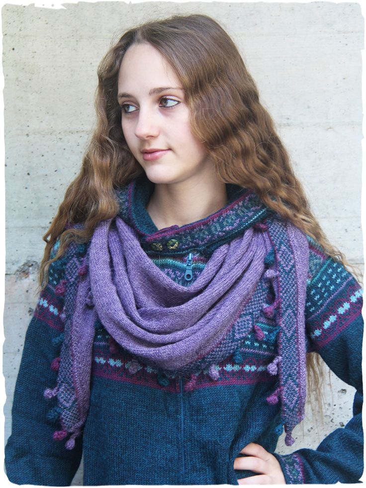 in color tonality bullets fringed triangular #scarf of #alpaca #wool #alpacaclothing