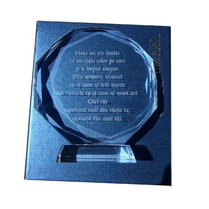 Trofeu de cristal cu mesaj de succes