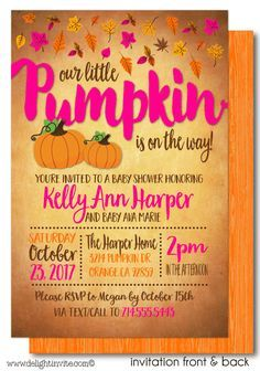 Little Pumpkin Baby Shower Invitation [DI-4566FC] : Custom Invitations and Announcements for all Occasions, by Delight Invite