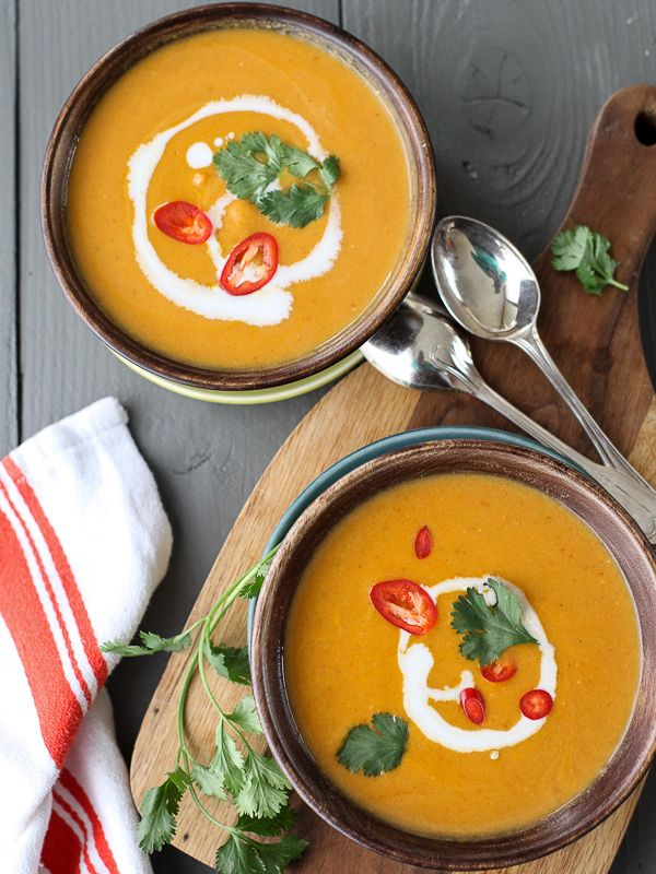 5 Ingredient Thai Pumpkin Soup - foodiecrush; Just replace chicken broth with veggie broth to make it vegetarian!