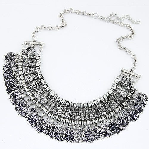Vintage Maxi Necklaces & Pendants Bohemian Gypsy Christmas Gifts Coin Necklace for Women Statement Choker Collier Boho Jewelry