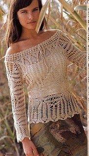 Fada do Crochet: BLUSA COR NATURAL PONTO PINHA, DECOTE CANOA