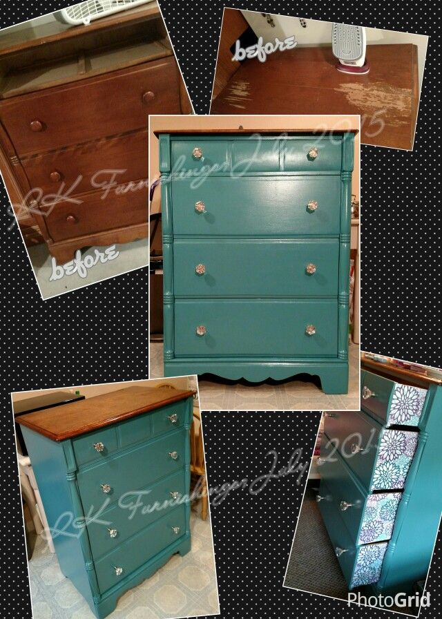 Our first furniture flip!  7/2015   I scored this solid wood chest of drawers for $15!  Teal painted dresser / bureau.  Stained top.  Decoupage drawers.  Acrylic knobs.  Drab to fab!  Refinish upcycle redo
