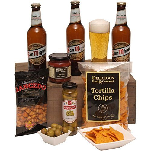 Clearwater Hampers A Taste of Spain - Christmas Beer Hamper - Xmas Hampers For Him - San Miguel Beer and Spicy Food Tre This great gift hamper is the perfect present for any occasion and includes the following: San Migel Premium Original Lager 330ml, Delicious Food amp