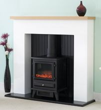 The Innsbruck White Electric Stove Fireplace Suite, delivered direct to your door. UK's No1 Fire & Fireplace Supplier