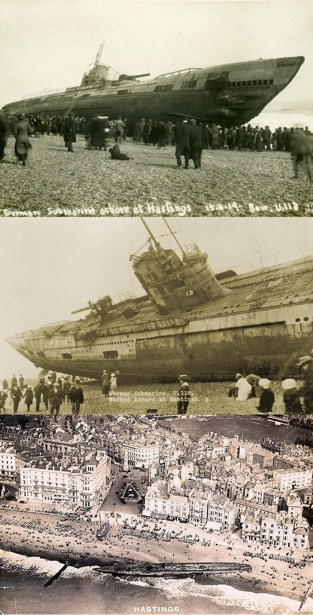 A German U-Boat washes up on the shores of Hastings, England in 1919.