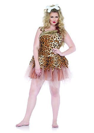 LEG Avenue - Cave Girl Cutie - Plus Size - 1x-2x 2Pc. Costume Set Cave Girl Cutie Dress With Layered Zig Zag Skirt And Bone Head Piece (Barcode EAN=0714718495477) http://www.MightGet.com/march-2017-1/leg-avenue--cave-girl-cutie--plus-size--1x-2x.asp
